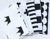 Neat White Black Cotton Fabric Crown Cross Stripes Plaid Leaves Cotton Fabric- 1/2 Yard