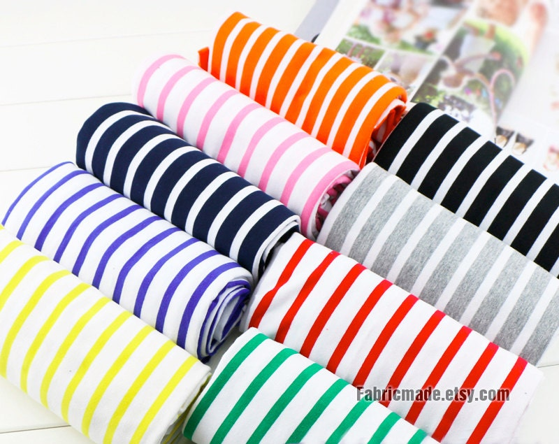 Stripes lycra knit cotton fabric baby kids clothing for Children s clothing fabric by the yard
