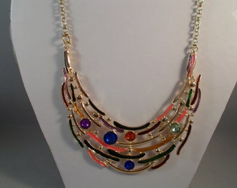 SALE Gold Tone Bib Necklace with Multi Color Pendants on a Gold Tone Chain
