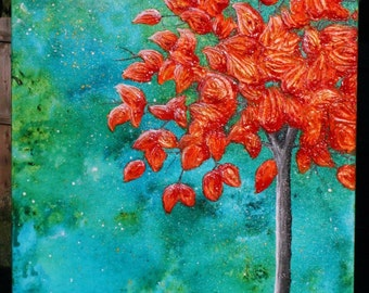 """Night Sky Fall Tree 18"""" by 24"""" abstract painting orange, turquoise, and heavy texture"""