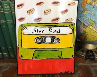 Cassette tape art print   stay rad   cool art   vintage inspired art   indie art   8x10 print   retro inspired art   retro rewind