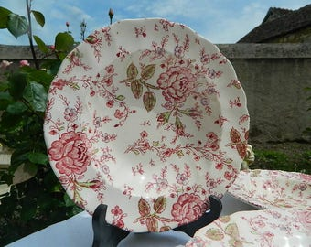 """Decorated  Plate """"Rose CHINTZ"""" (1952), Faience Anglaise JOHNSON BROS, Since E 1883"""