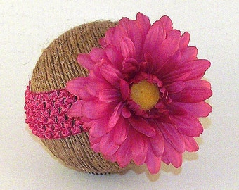 Pink Daisy Flower Headband Newborn - 3 Month Baby Girl Photo Photography Studio Prop