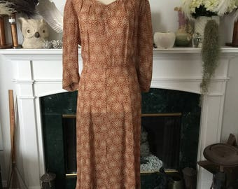 40s Butterfly Print semi Sheer Tayon Day dress