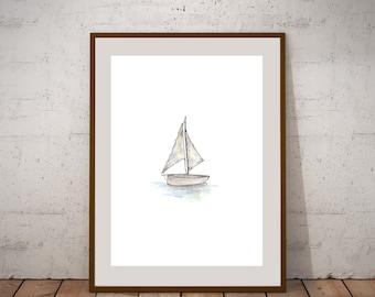 Sailboat Watercolor Print