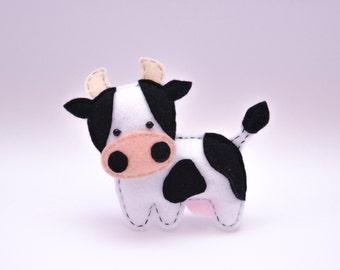 Felt COW, stuffed felt Cow magnet or ornament, Cow toy, Farm animals, Nursery decor,Cow magnet,Cute Cow,home decor,kids toy,Cow