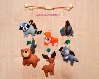 Forest animals CRIB MOBILE, Baby Crib Mobile ,Baby Mobile ,Nursery Crib Mobile , Felt forest animals, woodland animals, nursery mobile