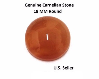 100% Natural Carnelian Cabochon 18 MM Round (Pack of 1)