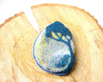 Felt tree brooch, needle felted blue and yellow woodland pin.