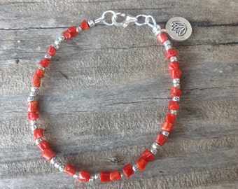 Delicate Natural Undyed Coral Bracelet,Tiny Hill Tribe Silver Beads,Red Coral,Hill Tribe Lotus Charm,Stacking Bracelet,Tribal,Southwestern