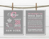ONSALE Birth Stats - Crown Birth Announcement Wall Art Set  8x10 or 11 x14