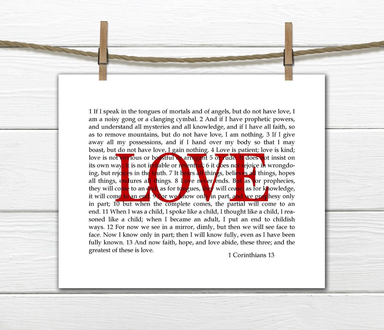 Wall Art 1 Corinthians 13 Love Scripture Print Christian