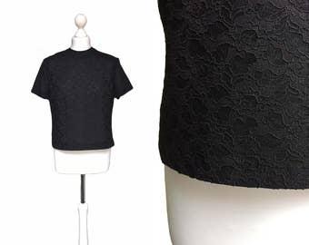 Black 1950's Blouse - 50's Vintage Blouse - Zip Back - UK14 - Black Semi Sheer Lace Blouse