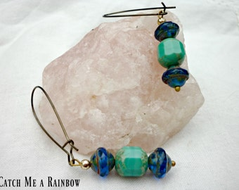 Blue boho dangle earrings, blue and turquoise dangle earrings, rustic earrings,steampunk earrings made in UK, ready to ship, on trend blue