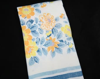 Vintage Tablecloth - Yellow Rose Tablecloth - Blue Yellow Floral Tablecloth - Glamper Tablecloth - Free Shipping - 5MTT17