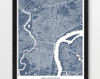 Philadelphia Map Print, Philadelphia Map Poster Print, Philadelphia Urban City Print, Blue Color Map, Printable Home Room Wall Office Decor
