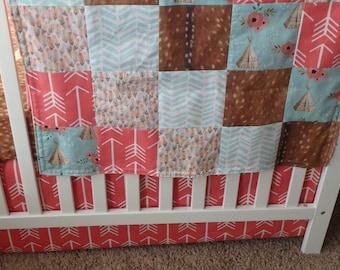 Teepee, Floral, Fawn and Arrow Patchwork Baby Minky Blanket or Quilt