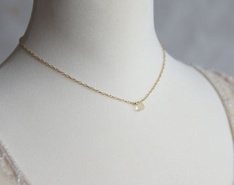 Tiny gold citrine necklace - November birthstone jewelry - citrine choker necklace