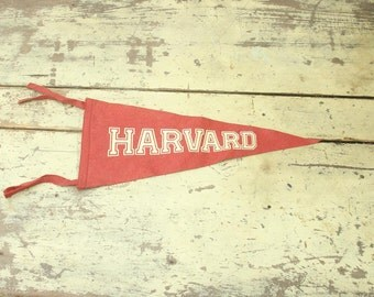 antique 1900's harvard university pennant, ivy league college