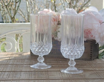 Crystal D Arquis Footed Ice Tea Glasses Goblets Set of 2 French Cut  Lead Crystal Vintage Glassware Stemware Barware Wine Goblets