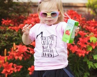 Hold my juice box, kids shirt, toddler shirt, birthday shirt, trendy tees, toddler tee, kids tee, pink shirt, kids tshirt, toddler clothing