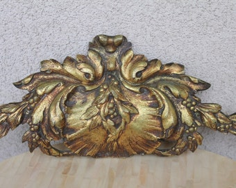 Antique French gilded bronze pediment Large French hardware Architectural piece, Frennch mount, French antique bronze French antique fronton