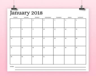 "8.5x11 Inch 2018 Calendar Template | INSTANT DOWNLOAD | Serif Type Monthly Printable Minimal Desk Calender | Prints 8.5x11"" or smaller"