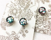 Hypo-Allergenic, metal Free, 8mm Glass Dome Post Stud Earrings in black with metallic glitter by Jules Jewelry Box