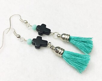 Southwest style, black cross and mint green crystal beaded dangle earrings with bohemian tassel by Jules Jewelry Box
