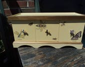 Lovely yellow wooden box wth three drawers - RESERVE for Liz
