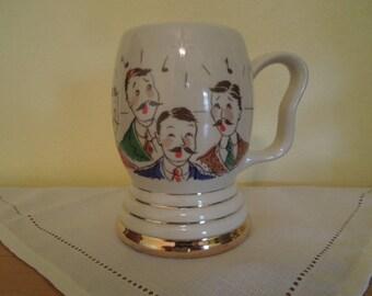 Barbershop Quartet Large Mug Stein Built-In Clapper Bell Ceramic