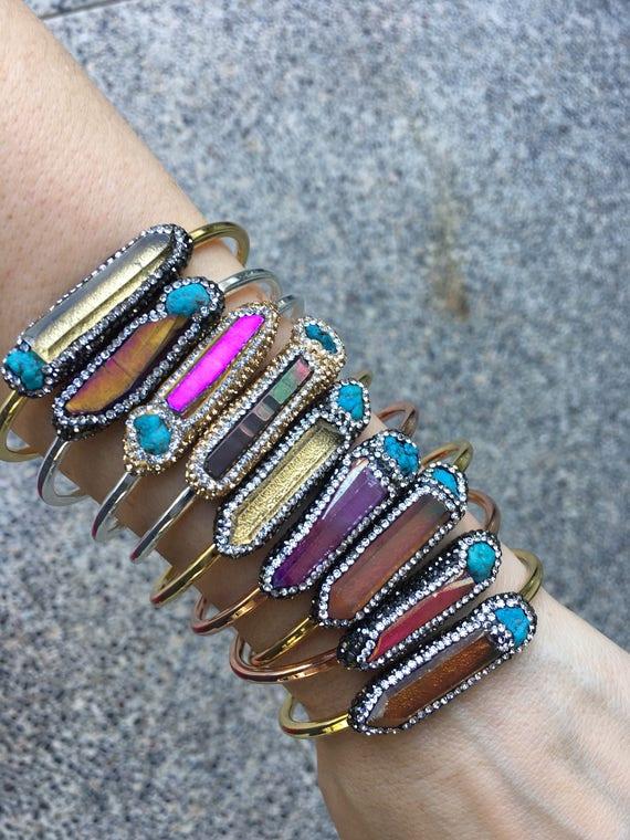 Crystal Aura Braclets, Pyrite Druzy cuff cystal jewelry