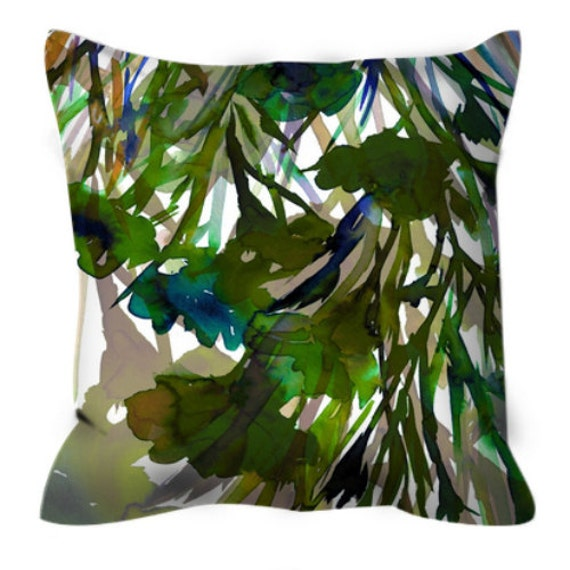 Olive Green And Blue Throw Pillows : PETALS in MOTION GREEN Olive Blue Floral Colorful Art Suede