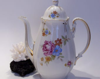 Germany US Zone Coffee Pot Floral Design Gold Trim Mid Century
