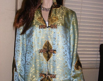 Beautiful Vintage 60's Gypsy Bohemian Rock N Roll Blue & Gold Asian Print Boho Ethnic Long Sleeve Silk Tunic Top Blouse Size Small to Large
