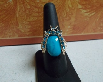 Stunning Blue Beetle Rhinestone Ring-Adjustable-R649