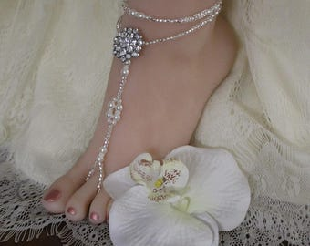 Rhinestone Pearl Beach Wedding Barefoot Sandal Barefoot Sandal Foot Jewelry Beach Wedding Shoe Pearl Anklet