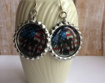 Flag Earrings, USA Flag Earrings, Fireworks Earrings, Red White Blue Earrings, Americana Earrings, USA Flag Accessory, Fireworks Accessory