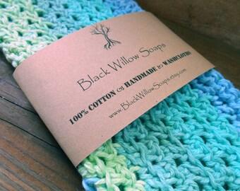 """Ocean Stripe Delicate Washclothes, 9x9"""", Soft Washcloths, Washcloth, Soft Washcloth, Cotton Washcloth, Crochet Washcloth, Washcloths"""