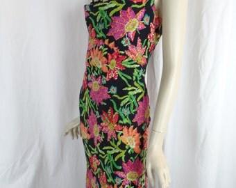 ESCADA jewel colored floral silk slip dress with lace décolleté/ 15 button back detail: size 38- fits US8-10