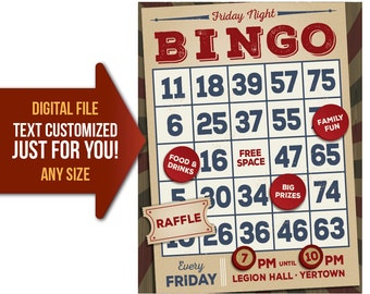 BINGO, night, tournament, party, fundraiser, flyer, invite, church, event, printable, poster, personalized, customized, invitation, postcard