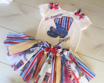 ALL AMERICAN COWGIRL tutu set/Birthday tutu/Memorial Day Tu Tu/4th July