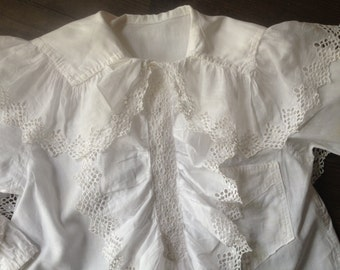 French Chemise Boys Shirt Cotton Lace Hand Sewn Regency Ruffle Reenactments Period Clothing