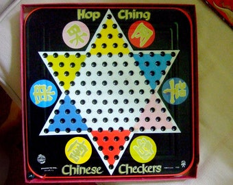 Hop Ching Chinese Checkers Vintage Tin Litho game and box