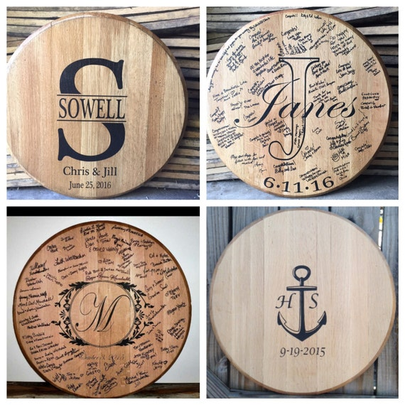 bourbon whiskey barrel head wedding guest book. Black Bedroom Furniture Sets. Home Design Ideas