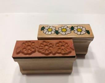 used flower border stamp, 45 mm long (BB4/6)