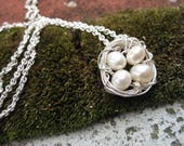 14K Gold Filled Bird Nest Necklace with Fresh Water Pearls