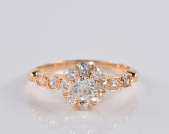 Authentic Victorian 1.40 Ct diamond cluster ring