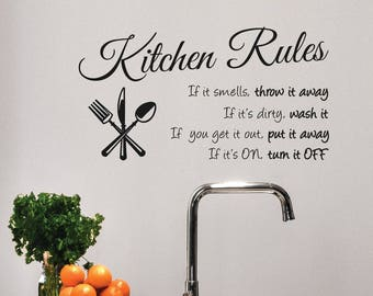 "Kitchen Rules Wall Decal Sign Dining Room Decor Kitchen Decor Country Kitchen Rules Decor Sign Gift for Mom Chef #1364 (23"" Wide x 12"" High)"