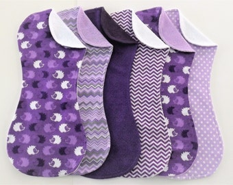 Purple Hedgehog Burp Cloth Set of 6 in Terry and Flannel